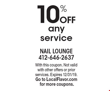 10% Off any service. With this coupon. Not valid with other offers or prior services. Expires 12/31/19.Go to LocalFlavor.com for more coupons.