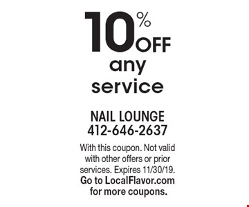 10% Off any service. With this coupon. Not valid with other offers or prior services. Expires 11/30/19.Go to LocalFlavor.com for more coupons.