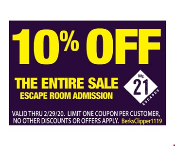 10% off the entire sale. Escape room submission. Valid thru 12/6/19. Limit one coupon per customer, no other discounts or offers apply.