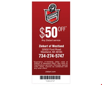 $50 off any Ziebart service. Expiration 11/16/19. Offer valid at Ziebart of Westland ONLY. Not valid on maintenance services. Excludes special order items. Cannot be combined with any other offers.
