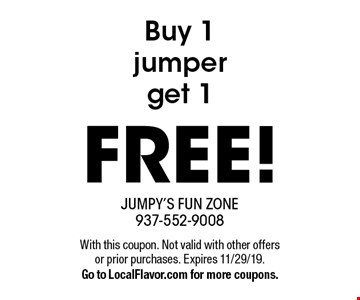 Buy 1 jumper get 1 FREE! . With this coupon. Not valid with other offers or prior purchases. Expires 11/29/19.Go to LocalFlavor.com for more coupons.