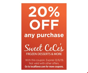 20% off any purchase. With this coupon. Expires 12/6/19. Not valid with other offers.