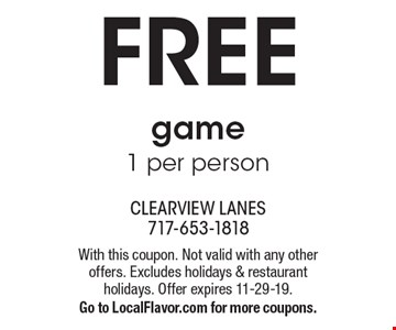 FREE game1 per person. With this coupon. Not valid with any other offers. Excludes holidays & restaurant holidays. Offer expires 11-29-19. Go to LocalFlavor.com for more coupons.