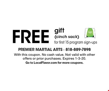 FREE gift(cinch sack) for first 15 program sign-ups. With this coupon. No cash value. Not valid with other offers or prior purchases. Expires 1-3-20.Go to LocalFlavor.com for more coupons.