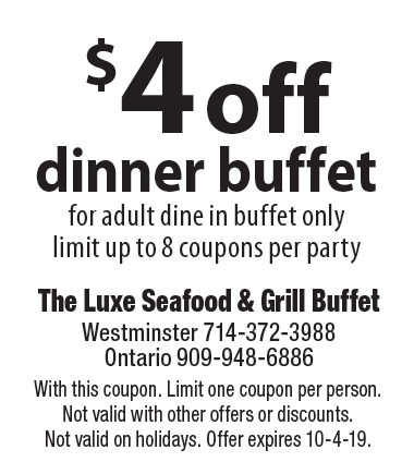 picture about The Luxe Buffet Printable Coupon identified as - The Luxe Buffet Discount codes