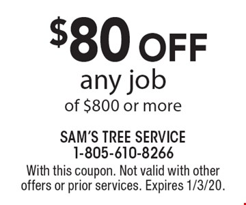 $80 off any job of $800 or more. With this coupon. Not valid with other offers or prior services. Expires 1/3/20.