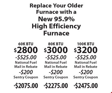 Replace your older furnace with a new 95.9% high efficiency furnace. 60K BTU $2800 -$525.00 national fuel mail in rebate -$200 Sentry coupon $2075.00, 80K BTU $3000 -$525.00 national fuel mail in rebate -$200 Sentry coupon $2275.00, 100K BTU $3200 -$525.00 national fuel mail in rebate Sentry coupon $2475.00.