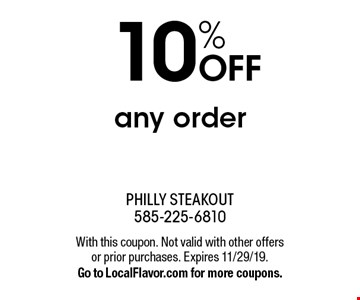 10% OFF any order. With this coupon. Not valid with other offers or prior purchases. Expires 11/29/19. Go to LocalFlavor.com for more coupons.