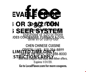 free egg rolls get 2 egg rolls free with purchase of $20 or more dine in or carry-out. With this coupon. Not valid with other offers. Expires 1/31/20. Go to LocalFlavor.com for more coupons.