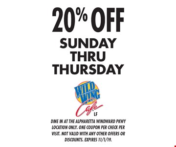 20% Off Sunday thru Thursday. Dine in at the Alpharetta Windward Pkwy location only. One coupon per check per visit. Not valid with any other offers or discounts. Expires 11/1/19.