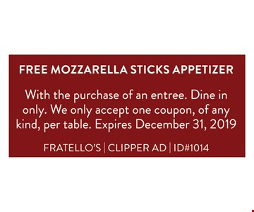 FREE Mozzarella Sticks Appetizer! With the purchase of an entree. Dine in only. We only accept one coupon, of any kind, per table. Expires 12/31/19.FRATELLO'S | CLIPPER AD | ID#1014