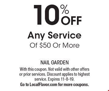 10% OFF Any Service Of $50 Or More. With this coupon. Not valid with other offers or prior services. Discount applies to highest service. Expires 11-8-19.Go to LocalFlavor.com for more coupons.