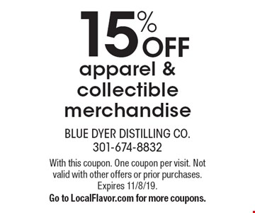 15% OFF apparel & collectible merchandise. With this coupon. One coupon per visit. Not valid with other offers or prior purchases. Expires 11/8/19. Go to LocalFlavor.com for more coupons.
