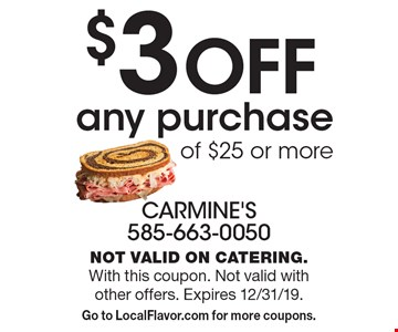 $3 OFF any purchase of $25 or more. Not valid on catering. With this coupon. Not valid with other offers. Expires 12/31/19. Go to LocalFlavor.com for more coupons.