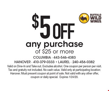 $5 OFF any purchase of $25 or more. Valid on Dine-In and Take out. Excludes alcohol. One coupon per person per visit. Tax and gratuity not included. No cash value. Valid only at participating location: Hanover. Must present coupon at point of sale. Not valid with any other offer, coupon or daily special.Expires 1/24/20.