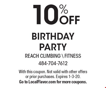 10% off birthday party. With this coupon. Not valid with other offers or prior purchases. Expires 1-3-20. Go to LocalFlavor.com for more coupons.