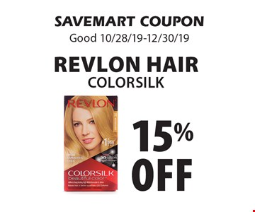 15% off Revlon Hair COLORSILK. SAVEMART COUPON Good 10/28/19-12/30/19