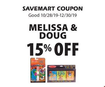 15% off Melissa & Doug. SAVEMART COUPON. Good 10/28/19-12/30/19