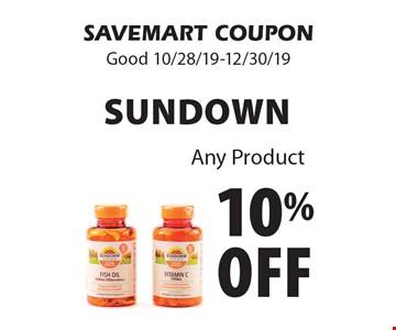 10% off Sundown. Any Product. SAVEMART COUPON. Good 10/28/19-12/30/19