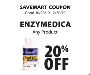 20% off Enzymedica Any Product. SAVEMART COUPON. Good 10/28/19-12/30/19