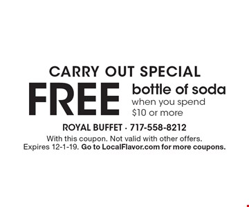 FREE bottle of soda when you spend $10 or more. With this coupon. Not valid with other offers. Expires 12-1-19. Go to LocalFlavor.com for more coupons.