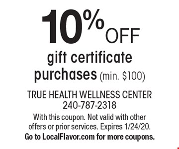 10% OFF gift certificate purchases (min. $100). With this coupon. Not valid with other offers or prior services. Expires 1/24/20. Go to LocalFlavor.com for more coupons.
