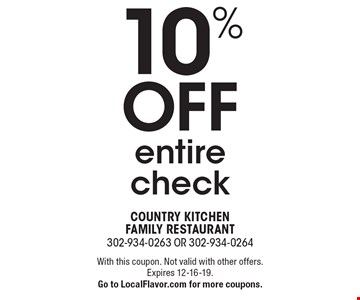 10% off entire check. With this coupon. Not valid with other offers. Expires 12-16-19.Go to LocalFlavor.com for more coupons.