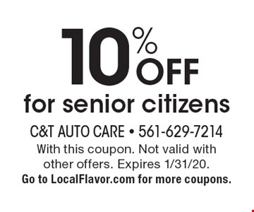 10% OFF for senior citizens. With this coupon. Not valid with