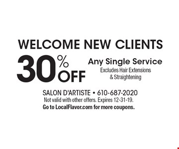 WELCOME NEW CLIENTS! 30% OFF Any Single ServiceExcludes Hair Extensions & Straightening. Not valid with other offers. Expires 12-31-19.Go to LocalFlavor.com for more coupons.