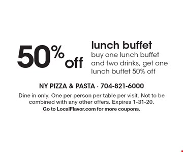 50% off lunch buffet - buy one lunch buffet and two drinks, get one lunch buffet 50% off. Dine in only. One per person per table per visit. Not to be combined with any other offers. Expires 1-31-20. Go to LocalFlavor.com for more coupons.
