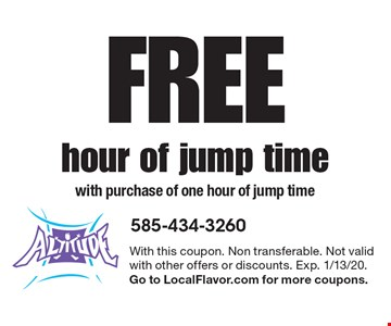 Free hour of jump timewith purchase of one hour of jump time. With this coupon. Non transferable. Not valid with other offers or discounts. Exp. 1/13/20. Go to LocalFlavor.com for more coupons.