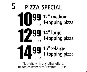 "10.99 +tax 12"" medium 1-topping pizza // 12.99 +tax 14"" large 1-topping pizza // 14.99 +tax 16"" x-large 1-topping pizza. Not valid with any other offers. Limited delivery area. Expires 12/31/19."