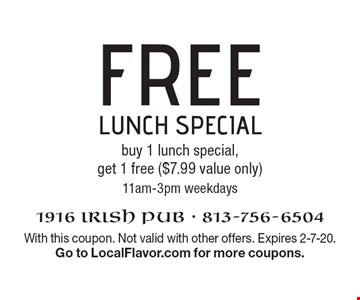 Free lunch special buy 1 lunch special, get 1 free ($7.99 value only) 11am-3pm weekdays. With this coupon. Not valid with other offers. Expires 2-7-20. Go to LocalFlavor.com for more coupons.