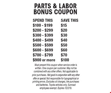 SPEND THISSAVE THIS$100 - $199$15$200 - $299$20$300 - $399$30$400 - $499$40$500 - $599$50$600 - $699$60$700 - $799$70$900 or more$100 PARTS & LABORBONUS COUPON. Must present this coupon when service order is written. One coupon per customer. May not be combined with any other offers. Not applicable to prior purchases. Not good in conjunction with any other offer or special. Not responsible for typographical or printing errors. Excludes oil changes, tire purchases and batteries. Toyota vehicles only. Sunroad employees exempt. Expires 12/2/19.