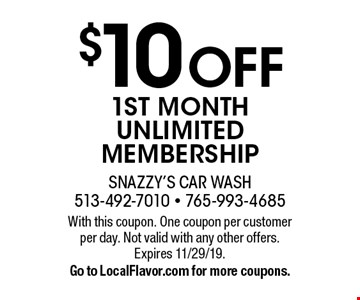 $10 Off 1ST MONTH UNLIMITED MEMBERSHIP. With this coupon. One coupon per customer per day. Not valid with any other offers. Expires 11/29/19. Go to LocalFlavor.com for more coupons.