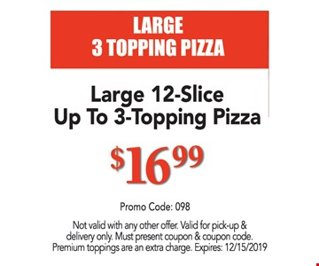 Large 12-slice up to 3-topping pizza $16.99. Not valid with any other offer. Valid for pick-up & delivery only. Must present coupon & coupon code. Premium toppings are an extra charge. Expires:12/15/19