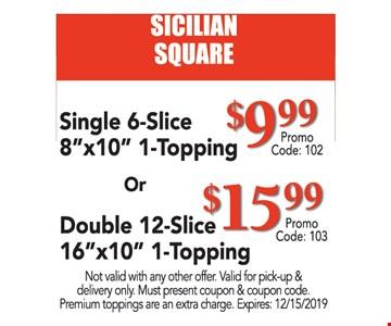 SICILIAN SQUARE. Single 6-Slice 8