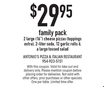 $29.95 family pack *2 large (16