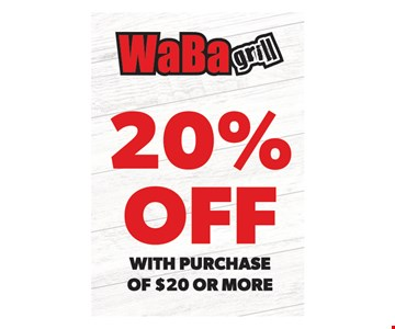 20% off with purchase of $20 or more. One coupon per visit. Must present this original coupon. Cannot be combined with other offers. Tax not included. Valid only at 4517 Chino Hills, 6390 Van Buren Blvd., 4069 Chicago Ave., 1760 W. 6th St., 5286 Arlington Ave., 6187 Magnolia Ave. locations. Expires on12/23/19.