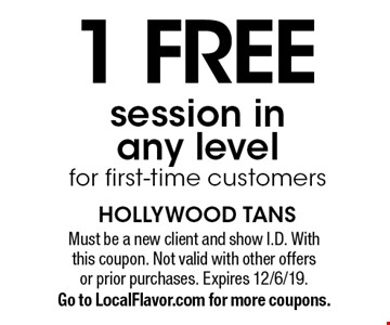 1 free session in any level for first-time customers. Must be a new client and show I.D. With this coupon. Not valid with other offers or prior purchases. Expires 12/6/19. Go to LocalFlavor.com for more coupons.