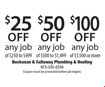 $100 off any job of $1,500 or more. $50 off any job of $500 to $1,499. $25 off any job of $250 to $499. Coupon must be presented before job begins.