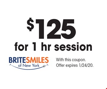 $125 for 1 hr session. With this coupon. Offer expires 1/24/20.