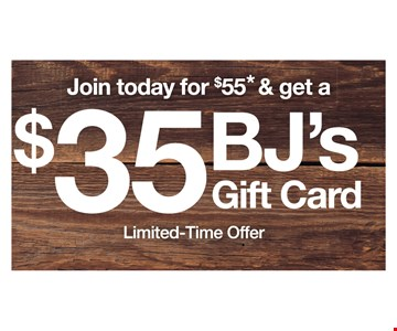 Join today for $55 and get a $35 bjs gift card. *Off er is valid at the Madison Heights, MI, Club and online at BJs.com/MadisonHeights only, may not be combined with other off ers, not redeemable for cash, nontransferable and only good for new BJ's Inner Circle Members joining with a 1-Year Membership. Plus sales tax where applicable. Off er is contingent upon your enrolling in BJ's Easy Renewal, and you authorize BJ's to charge the debit/credit card fi rst used at BJ's after accepting this off er, an annual recurring charge in the amount of the then-current Membership fee for all active Memberships on your account, plus tax where applicable, on the fi rst day of the month your Membership expires. Expires: 12/31/19.