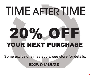 20% off your next purchase Some exclusions may apply, see store for details.