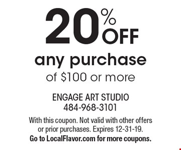 20% OFF any purchase of $100 or more. With this coupon. Not valid with other offers or prior purchases. Expires 12-31-19.Go to LocalFlavor.com for more coupons.