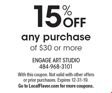 15% OFF any purchase of $30 or more. With this coupon. Not valid with other offers or prior purchases. Expires 12-31-19.Go to LocalFlavor.com for more coupons.