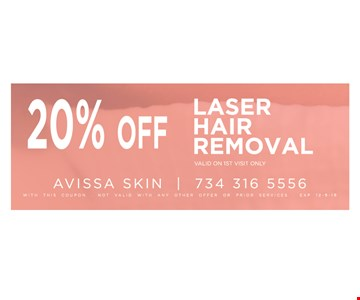 20% OffLaser hair removal, valid on 1st visit only With this coupon. Not valid with any other offer or prior services. 12/09/19