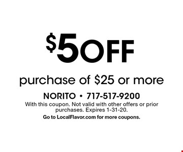 $5 off purchase of $25 or more. With this coupon. Not valid with other offers or prior purchases. Expires 1-31-20. Go to LocalFlavor.com for more coupons.