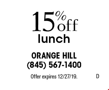 15% off lunch. Offer expires 12/27/19.