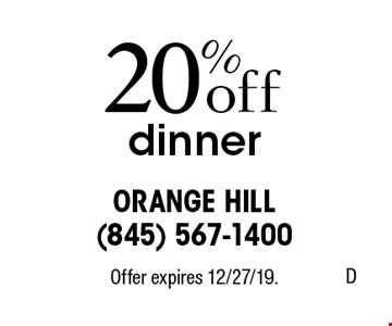 20% off dinner. Offer expires 12/27/19.